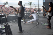 Musicians Eric Cannata, Sameer Gadhia and Payam Doostzadeh of the band Young the Giant perform at the Hangout Stage during 2017 Hangout Music Festival on May 21, 2017 in Gulf Shores, Alabama.