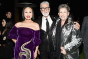 2017 Art+Film Gala Co-Chair Eva Chow, wearing Gucci, Firooz Zahedi and Beth Rudin DeWood attend the 2017 LACMA Art + Film Gala Honoring Mark Bradford and George Lucas presented by Gucci at LACMA on November 4, 2017 in Los Angeles, California.