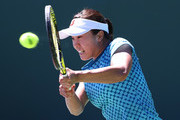 Kurumi Nara of Japan plays a backhand against Francesca Schiavone of Italy during Day 2 of the Miami Open at Crandon Park Tennis Center on March 21, 2017 in Key Biscayne, Florida.