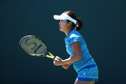 Kurumi Nara of Japan in action against  Francesca Schiavone of Italy  during Day 2 of the Miami Open at Crandon Park Tennis Center on March 21, 2017 in Key Biscayne, Florida.