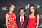 (L-R) Miss USA 2015 Olivia Jordan, Farouk Systems founder Farouk Shami, and Miss USA 2014 Nia Sanchez attend the 2017 Miss Universe Pageant at Planet Hollywood Resort & Casino on November 26, 2017 in Las Vegas, Nevada.