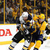 Sidney Crosby #87 of the Pittsburgh Penguins battles for position with Viktor Arvidsson #38 of the Nashville Predators during the second period in Game Six of the 2017 NHL Stanley Cup Final at the Bridgestone Arena on June 11, 2017 in Nashville, Tennessee.