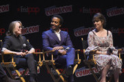 Sissy Spacek, Andre Holland and Melanie Lynskey speak onstage at the Castle Rock Panel during the New York Comic Con 2017 on October 8, 2017 in New York City.