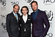 Director Luca Guadagnino, Armie Hammer and Timothee Chalamet attend the 2017 New York Film Critics Awards at TAO Downtown on January 3, 2018 in New York City.