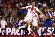 Stefan Ratchford of England breaks the Samoan defence during the 2017 Pacific Test Invitational match between England and Samoa at Campbelltown Sports Stadium on May 6, 2017 in Sydney, Australia.