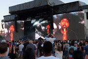 A view of Phife Dawg tribute on the screens as A Tribe Called Quest performs on the Panorama Stage during the 2017 Panorama Music Festival - Day 3 at Randall's Island on July 29, 2017 in New York City.