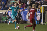Verena Faibt #23 of Germany controls the ball against Becky Sauerbrunn #4 of the United States of America in the second half during the SheBelieves Cup at Talen Energy Stadium on March 1, 2017 in Chester, Pennsylvania. The United States defeated Germany 1-0.