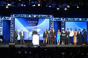 (L-R) Executive Producers Ken Olin, Jess Rosenthal, Dan Fogelman, actors Susan Kelechi Watson, Sterling K. Brown, Justin Hartley, Executive Producer Elizabeth Berger, actor Chrissy Metz, Executive Producer Isaac Aptaker, and actors Chris Sullivan, Mandy Moore, and Milo Ventimiglia, with guest Brian Tyree Henry, accept the award for 'Outstanding New Program' for 'This Is Us' onstage at the 33rd Annual Television Critics Association Awards during the 2017 Summer TCA Tour at The Beverly Hilton Hotel on August 5, 2017 in Beverly Hills, California.