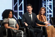 """(L-R) Actors Kimberly Hebert Gregory, Jason Ritter and JoAnna Garcia Swisher of """"Kevin (Probably) Saves the World"""" speak onstage during the Disney/ABC Television Group portion of the 2017 Summer Television Critics Association Press Tour at The Beverly Hilton Hotel on August 6, 2017 in Beverly Hills, California."""
