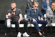 (L-R) Sam Worthington, Paul Bettany and Chris Noth of 'Discovery Channel - Manhunt: Unabomber' speak onstage during the Discovery Communications portion of the 2017 Summer Television Critics Association Press Tour at The Beverly Hilton Hotel on July 26, 2017 in Beverly Hills, California.