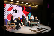 "Producer Sarah Polley, (Right) (Top L-R) Actor Edward Holcroft, executive producer Noreen Halpern, actor Kerr Logan, (Front L-R) director Mary Harron, actress Sarah Gadon, screenwriter/producer Margaret Atwood attend ""Alias Grace"" Press Conference during the 2017 Toronto International Film Festival at TIFF Bell Lightbox on September 12, 2017 in Toronto, Canada."
