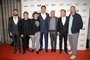 """(L-R) Nate Bolotin, Jack Heller, Tiff programmer Peter Kuplowsky, Vince Vaughn, Udo Kier, Don Johnson, and Dallas Sonnier attend the """"Brawl in Cell Block 99"""" premiere during the 2017 Toronto International Film Festival at Ryerson Theatre on September 12, 2017 in Toronto, Canada."""