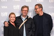 """Director Lili Fini Zanuck (L) and musician Eric Clapton (C) attend """"Eric Clapton: Life In 12 Bars"""" press conference during 2017 Toronto International Film Festival at TIFF Bell Lightbox on September 11, 2017 in Toronto, Canada."""