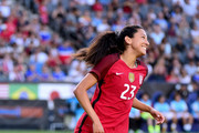 Christen Press #23 of the United States reacts to her missed chance during a 3-0 win over Japan during the 2017 Tournament Of Nations at StubHub Center on August 3, 2017 in Carson, California.