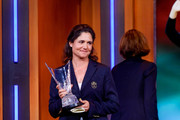 Lorena Ochoa is on stage as she is inducted into the World Golf Hall Of Fame on September 26, 2017 in New York City.