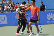 Students selected for the tennis clinic competes to find their favorite partner before the tennis clinic which is part of the Wuhan Open Project at 2017 Wuhan Open on September 28, 2017 in Wuhan, China.