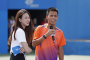 A student  a question to Li Na of China jokes with students after a tennis clinic which is part of the Wuhan Open Project at 2017 Wuhan Open on September 28, 2017 in Wuhan, China.