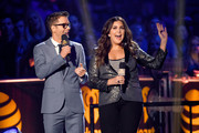 Host Bobby Bones (L) and singer Hillary Scott of Lady Antebellum speak onstage during the 2017 iHeartCountry Festival, A Music Experience by AT&T at The Frank Erwin Center on May 6, 2017 in Austin, Texas.