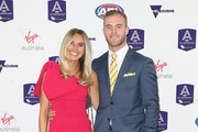 Tom Mitchell of the Hawks and partner Hannah Davis during the 2018 AFL All-Australia Awards at the Palais Theatre on August 29, 2018 in Melbourne, Australia.