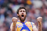 Josh Kennedy of the Eagles celebrates a goal during the 2018 AFL Grand Final match between the Collingwood Magpies and the West Coast Eagles at Melbourne Cricket Ground on September 29, 2018 in Melbourne, Australia.