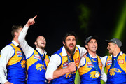 Josh Kennedy of the Eagles celebrates on stage in front of their fans during the 2018 Toyota AFL Grand Final match between the West Coast Eagles and the Collingwood Magpies at the Melbourne Cricket Ground on September 29, 2018 in Melbourne, Australia.