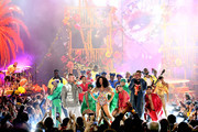 (L-R) J Balvin, Cardi B and Bad Bunny perform onstage during the 2018 American Music Awards at Microsoft Theater on October 9, 2018 in Los Angeles, California.