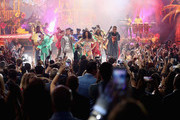 (L-R) J Balvin, Cardi B, and Bad Bunny perform onstage during the 2018 American Music Awards at Microsoft Theater on October 9, 2018 in Los Angeles, California.