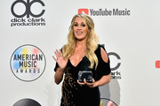 Carrie Underwood, winner of the Favorite Female Artist - Country award, poses in the press room during the 2018 American Music Awards at Microsoft Theater on October 9, 2018 in Los Angeles, California.