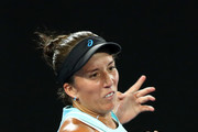Francesca Schiavone of Italy plays a forehand during her first round match against Daria Gavrilova of Australia on day one of the 2018 Australian Open at Melbourne Park on January 15, 2018 in Melbourne, Australia.