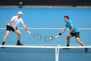 Jamie Murray of Great Britain and Bruno Soares of Brazil compete in their second round men's doubles match against Leander Paes of India and Purav Raja of India on day six of the 2018 Australian Open at Melbourne Park on January 20, 2018 in Melbourne, Australia.