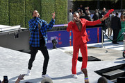 Nipsey Hussle (L) and YG perform onstage at Live! Red! Ready! Pre-Show, sponsored by Nissan, at the 2018 BET Awards at Microsoft Theater on June 24, 2018 in Los Angeles, California.