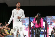 Safaree (L) and  Lil' Mo perform onstage at  BETHer Presents Fashion & Beauty during the 2018 BET Experience at Los Angeles Convention Center on June 23, 2018 in Los Angeles, California.