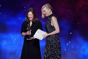 Cate Blanchett (R) accepts the Stanley Kubrick Britannia Award for Excellence in Film presented by Cunard from President of Lucasfilm Kathleen Kennedy onstage at the 2018 British Academy Britannia Awards presented by Jaguar Land Rover and American Airlines at The Beverly Hilton Hotel on October 26, 2018 in Beverly Hills, California.