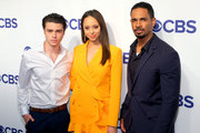 (L-R) Actors Felix Mallard, Amber Stevens West and Damon Wayans Jr. attend the 2018 CBS Upfront at The Plaza Hotel on May 16, 2018 in New York City.