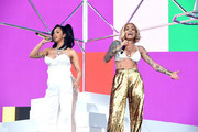 Cardi B (L) and Kehlani perform onstage during the 2018 Coachella Valley Music and Arts Festival Weekend 1 at the Empire Polo Field on April 15, 2018 in Indio, California.