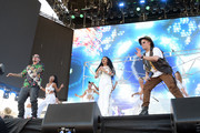 (L-R) J Balvin, Cardi B, and Bad Bunny perform onstage during the 2018 Coachella Valley Music And Arts Festival at the Empire Polo Field on April 22, 2018 in Indio, California.