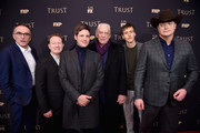 (L-R) Danny Boyle, Michael Esper, Donald Sutherland, Simon Beaufoy, Harris Dickinson and Brendan Frase attend the 2018 FX Annual All-Star Party at SVA Theater on March 15, 2018 in New York City.