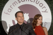 Actors Michael C. Hall (L) and Emily Deschanel speak onstage during the 2018 Farm Sanctuary on the Hudson gala at Pier 60 on October 4, 2018 in New York City.