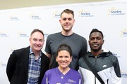 (L-R) Former MLB player Paul Molitor, Starkey Hearing Technologies Chief Philanthropy Officer Tani Austin, NBA player Cole Aldrich, and NFL player Antonio Brown attend the 2018 Big Game Weekend Hearing Mission With Starkey Hearing Technologies on February 3, 2018 in Minneapolis, Minnesota.