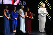 (L-R) Rosemarie Aquilina, Aly Raisman, Rachael Denhollander, Andrea Munford and Angela Povilaitis speak onstage at the 2018 Glamour Women Of The Year Awards: Women Rise on November 12, 2018 in New York City.