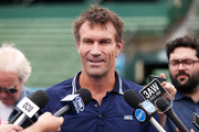 Pat Cash speaks to the media ahead of tomorrow's 2018 Kooyong Classic at Kooyong on January 8, 2018 in Melbourne, Australia.