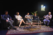 Steven Rogers, Adele Lim, Scott Neustadter, Nicole Holofcener, Paul Cowling attend the 2018 LA Film Festival - Coffee Talks: Screenwriters at Wallis Annenberg Center for the Performing Arts on September 22, 2018 in Beverly Hills, California.