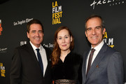 """Josh Welsh, Jennifer Cochis, and Mayor of Los Angeles Eric Garcetti attend sthe 2018 LA Film Festival opening night premiere of """"Echo In The Canyon"""" at John Anson Ford Amphitheatre on September 20, 2018 in Hollywood, California."""