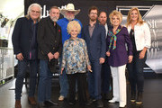 Ricky Skaggs, Ray Stevens, Charlie Daniels, Brenda Lee, Ben Folds, Jonathan Levine, Jeannie Seely and Trisha Yearwood attend the 2018 Music City Walk Induction Ceremony at Walk of Fame Park on August 21, 2018 in Nashville, Tennessee.
