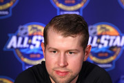 Josh Bailey #12 of the New York Islanders addresses the media during Media Day for the 2018 NHL All-Star at the Grand Hyatt Hotel on January 27, 2018 in Tampa, Florida.