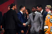 Roberto Luongo of the Florida Panthers shakes hands with P.K. Subban of the Nashville Predators onstage at the 2018 NHL Awards presented by Hulu at The Joint inside the Hard Rock Hotel & Casino on June 20, 2018 in Las Vegas, Nevada.