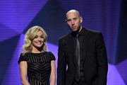 Craig Anderson of the Ottawa Senators and his wife Nicholle, presents the Bill Masterton Memorial Trophy onstage at the 2018 NHL Awards presented by Hulu at The Joint inside the Hard Rock Hotel & Casino on June 20, 2018 in Las Vegas, Nevada.