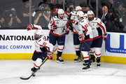 Devante Smith-Pelly #25 of the Washington Capitals is congratulated by his teammates after scoring a third-period goal against the Vegas Golden Knights in Game Five of the 2018 NHL Stanley Cup Final at T-Mobile Arena on June 7, 2018 in Las Vegas, Nevada.