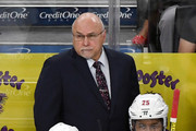Head coach Barry Trotz of the Washington Capitals handles bench duties behind Jakub Vrana #13 and Devante Smith-Pelly #25 in the third period of Game Five of the 2018 NHL Stanley Cup Final against the Vegas Golden Knights at T-Mobile Arena on June 7, 2018 in Las Vegas, Nevada. The Capitals defeated the Golden Knights 4-3.