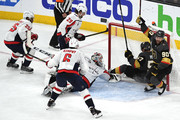 Tomas Tatar #90 of the Vegas Golden Knights celebrates a second-period goal against the Washington Capitals by teammate David Perron #57 in Game Five of the 2018 NHL Stanley Cup Final at T-Mobile Arena on June 7, 2018 in Las Vegas, Nevada.